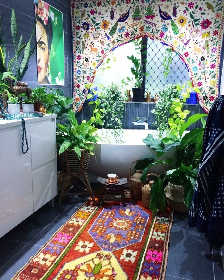 When the noise of the world gets too loud & too crazy, you will find me riiiiiight here. ✌ My bohemian jungle bathroom.