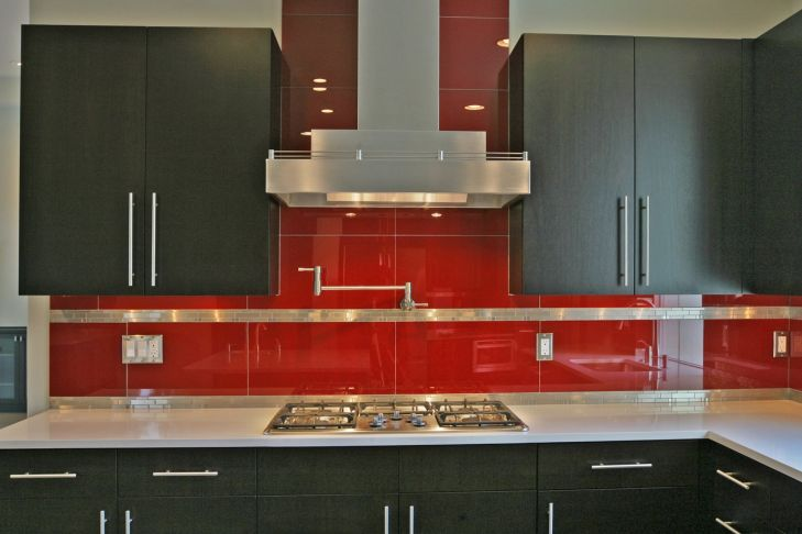 Red Glass Tile Kitchen Backsplash jubizfo Pinterest