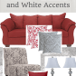Living room ideas red couch with grey and white accents red