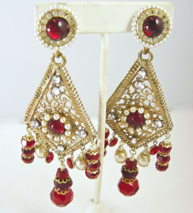 Vintage Signed Bobley Red Beads And Faux Pearl Chandelier Earrings Http