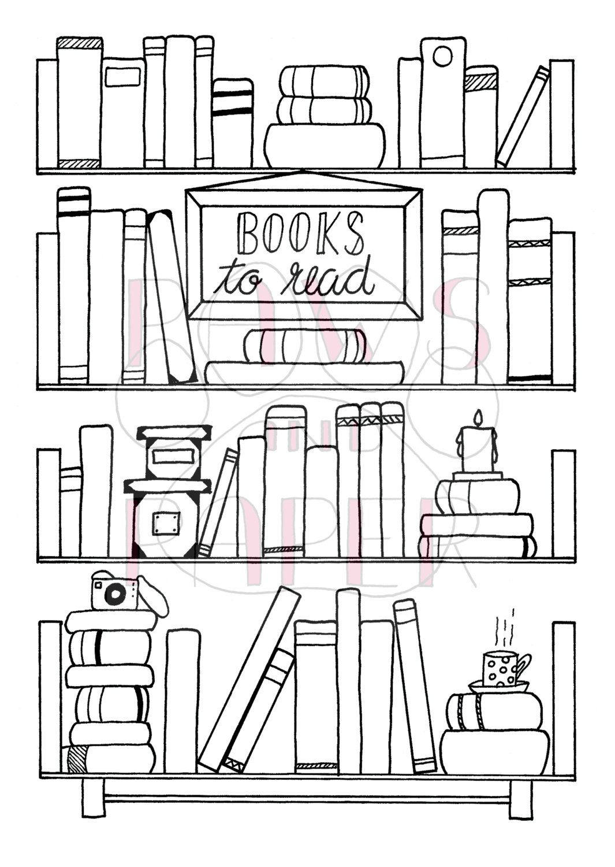 Bullet Journal Book Wishlist Printable Hand Drawn Bookshelf
