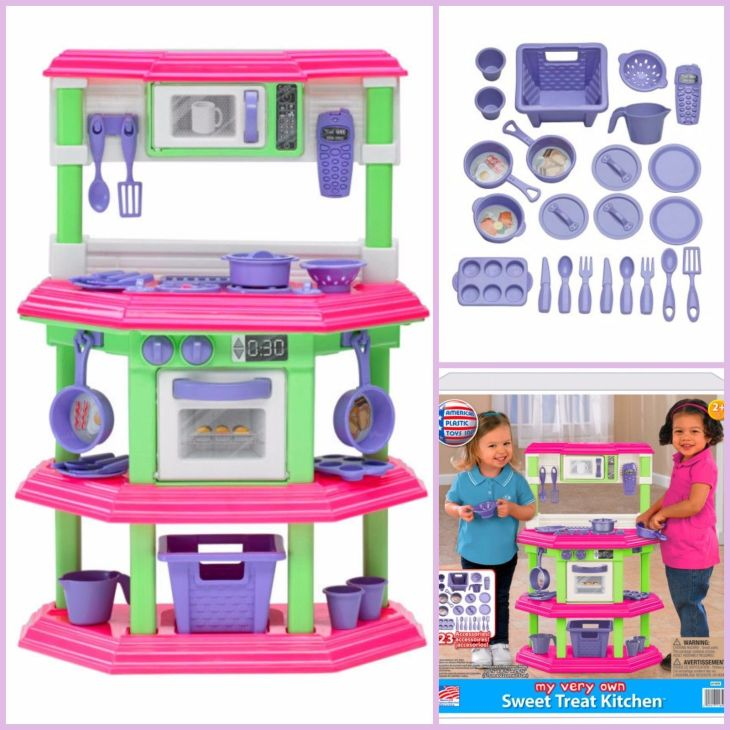 Kids Kitchen Playset Toy Pretend Play Set Cooking Food Pink Toy for