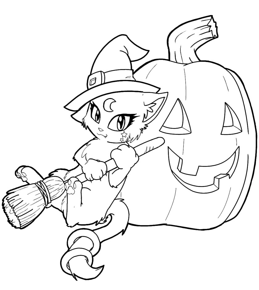 "free witch coloring pages  icolor ""little kids halloween"