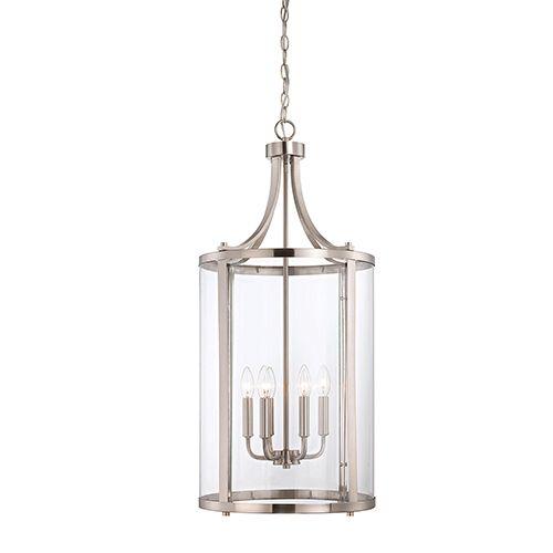 Penrose Brushed Nickel And Pewter Six Light Foyer Pendant Lantern Lighting Ceilin