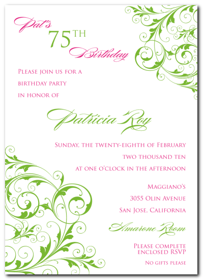 invitation template for 75th birthday