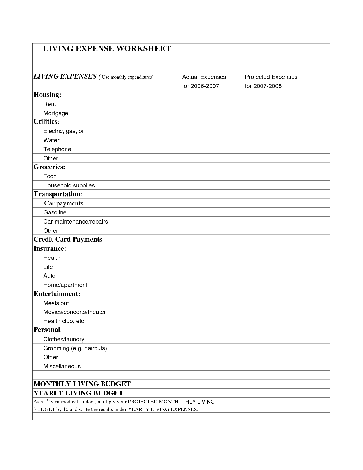 Printable Yearly Expense Worksheet