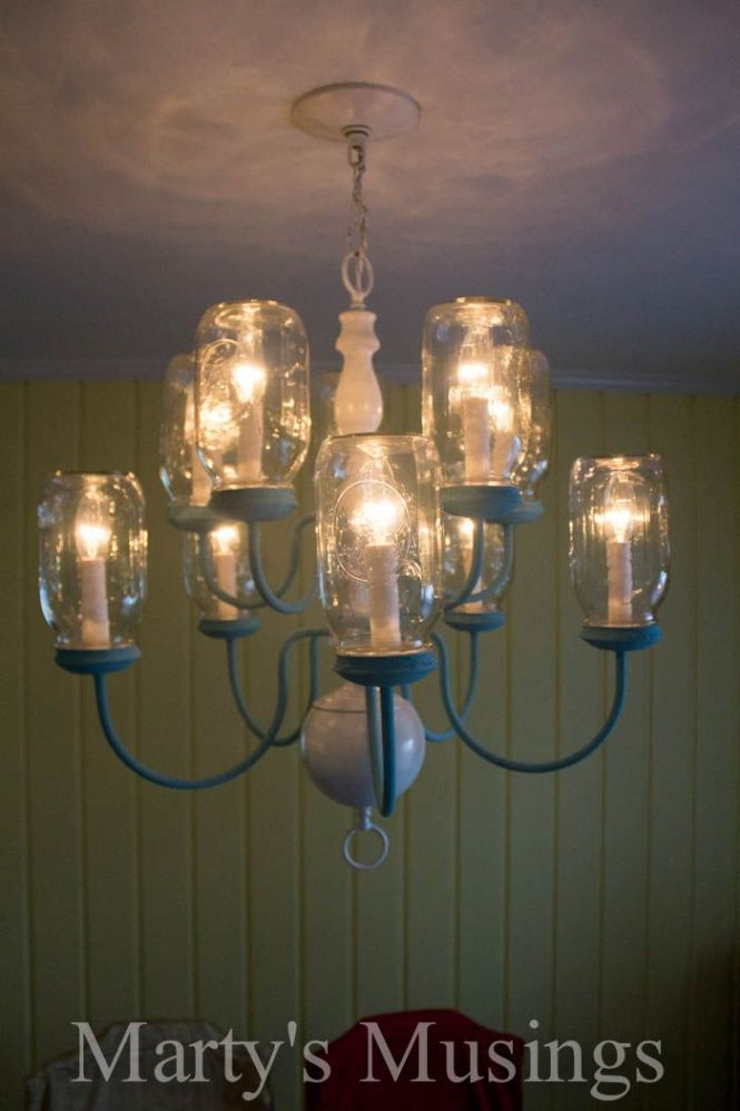 Diy Mason Jar Chandelier From Marty S Musings Really Good Tutorial With Lots Of Instructions And