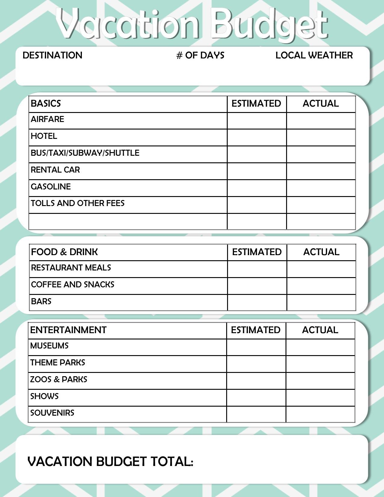 Free Printable Vacation Travel Budget Worksheet