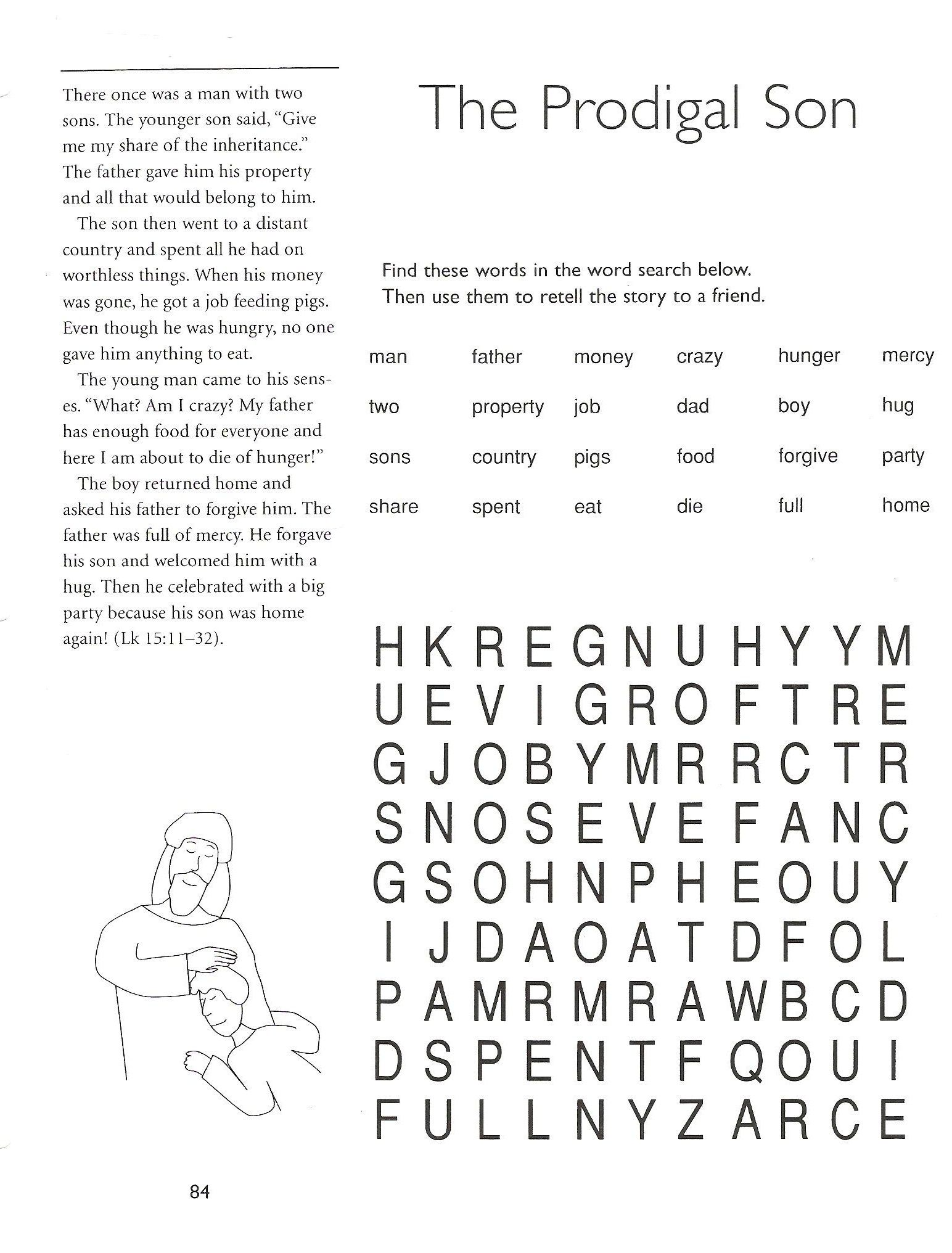 Prodigal Son Worksheets And Puzzles