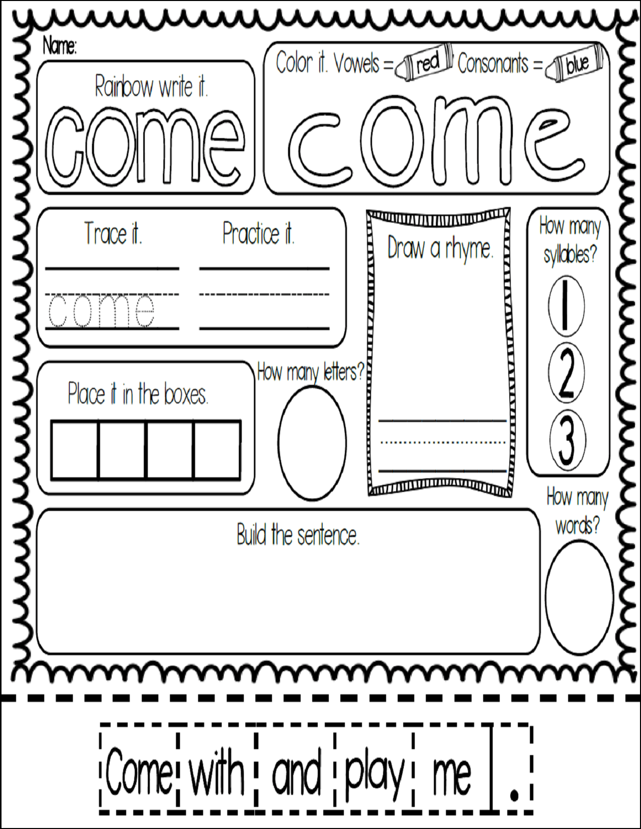 Freebie Meaningful And Fun Sight Word Work With The Word Come