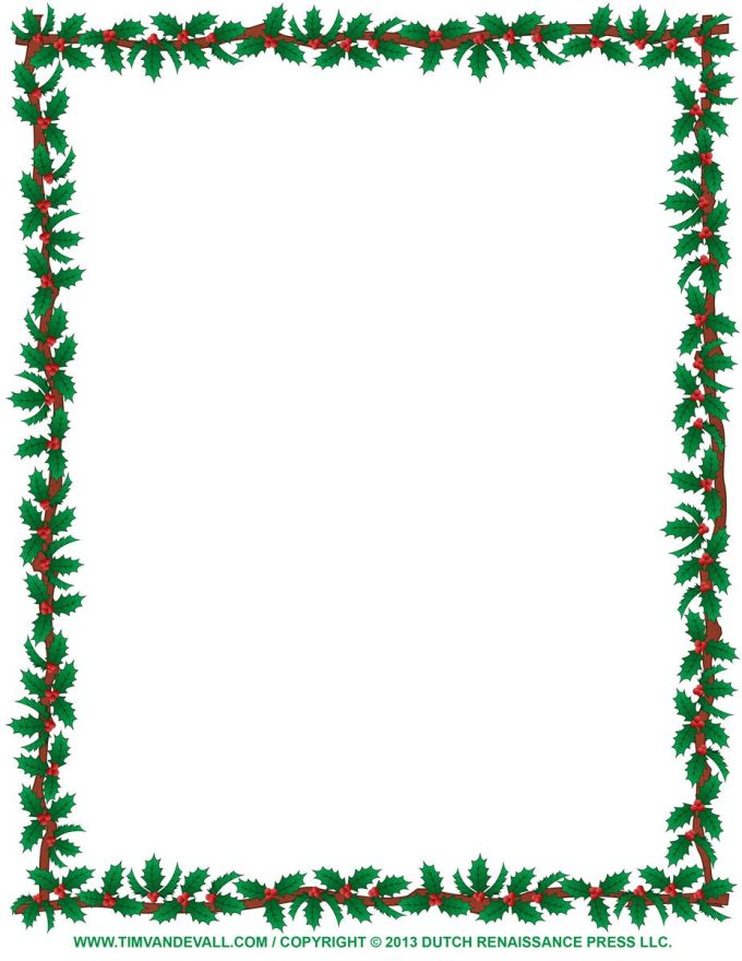 this free printable winter holiday border features green