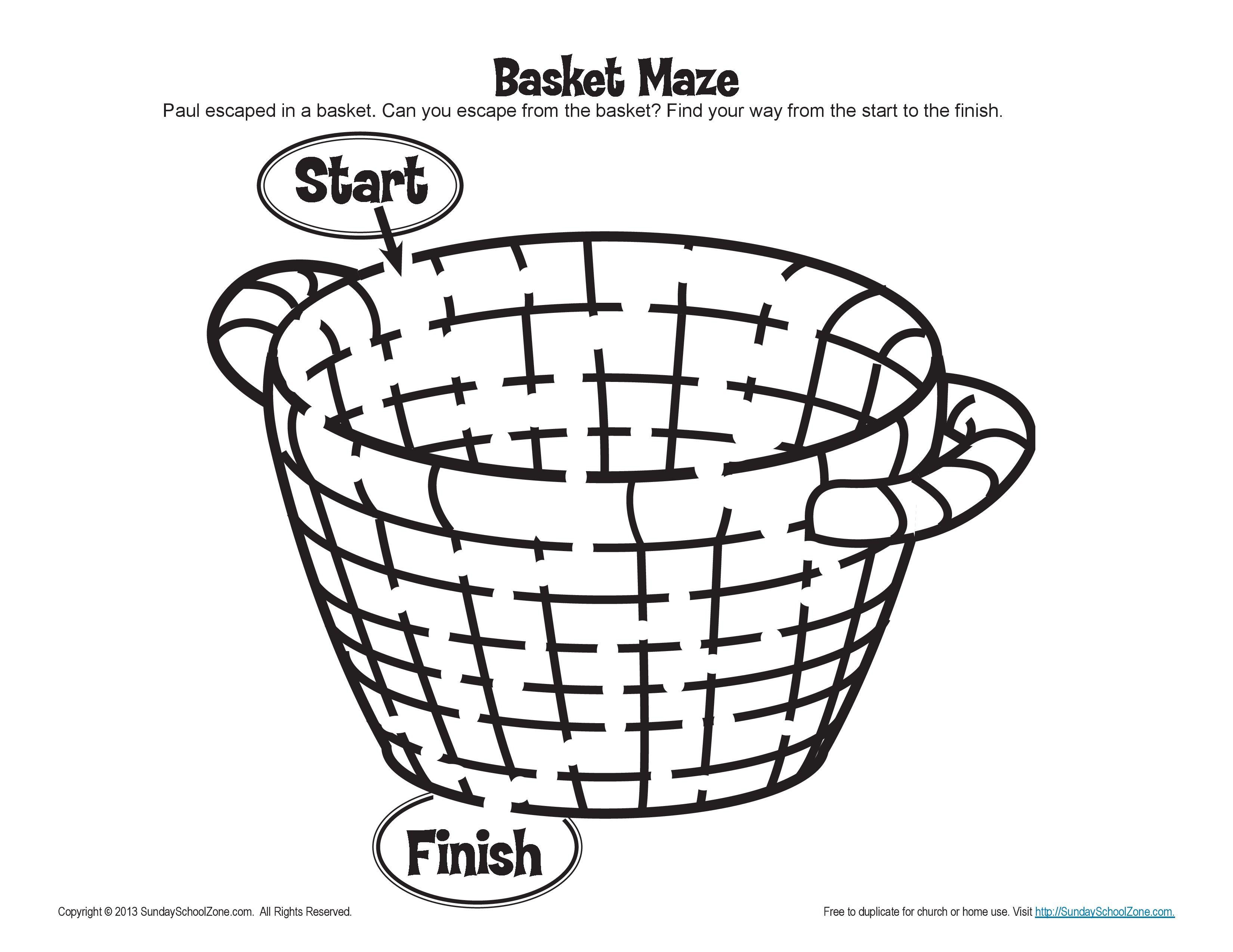 Paul S Escape Basket Maze Activity For Kids