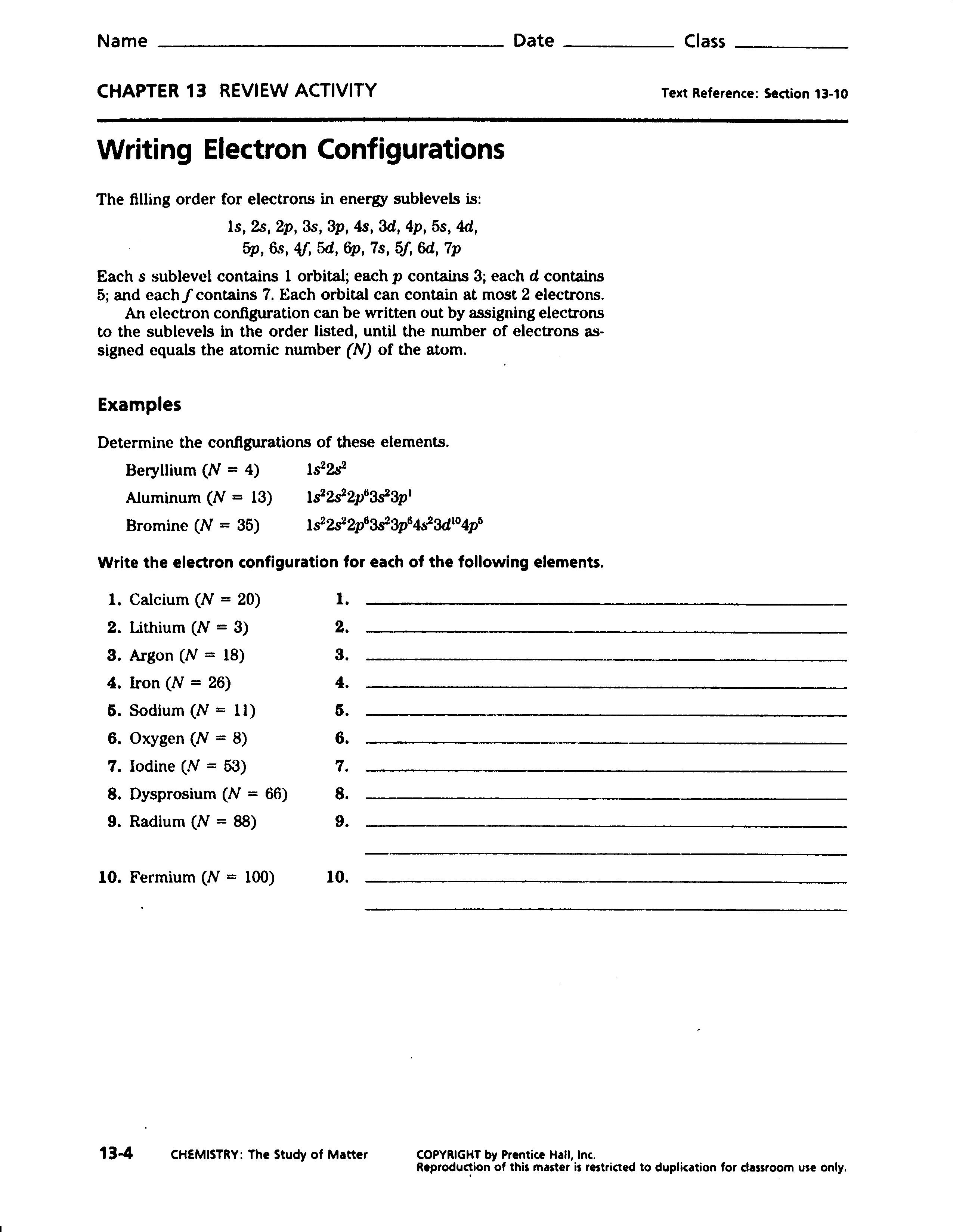 Electron Configuration Worksheet Answers Part A