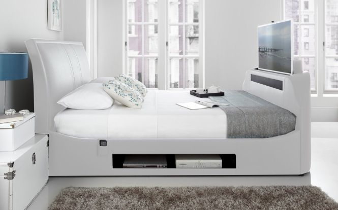 Maximus White Leather Multi Media King Size Tv Bed With 40 Samsung Smart