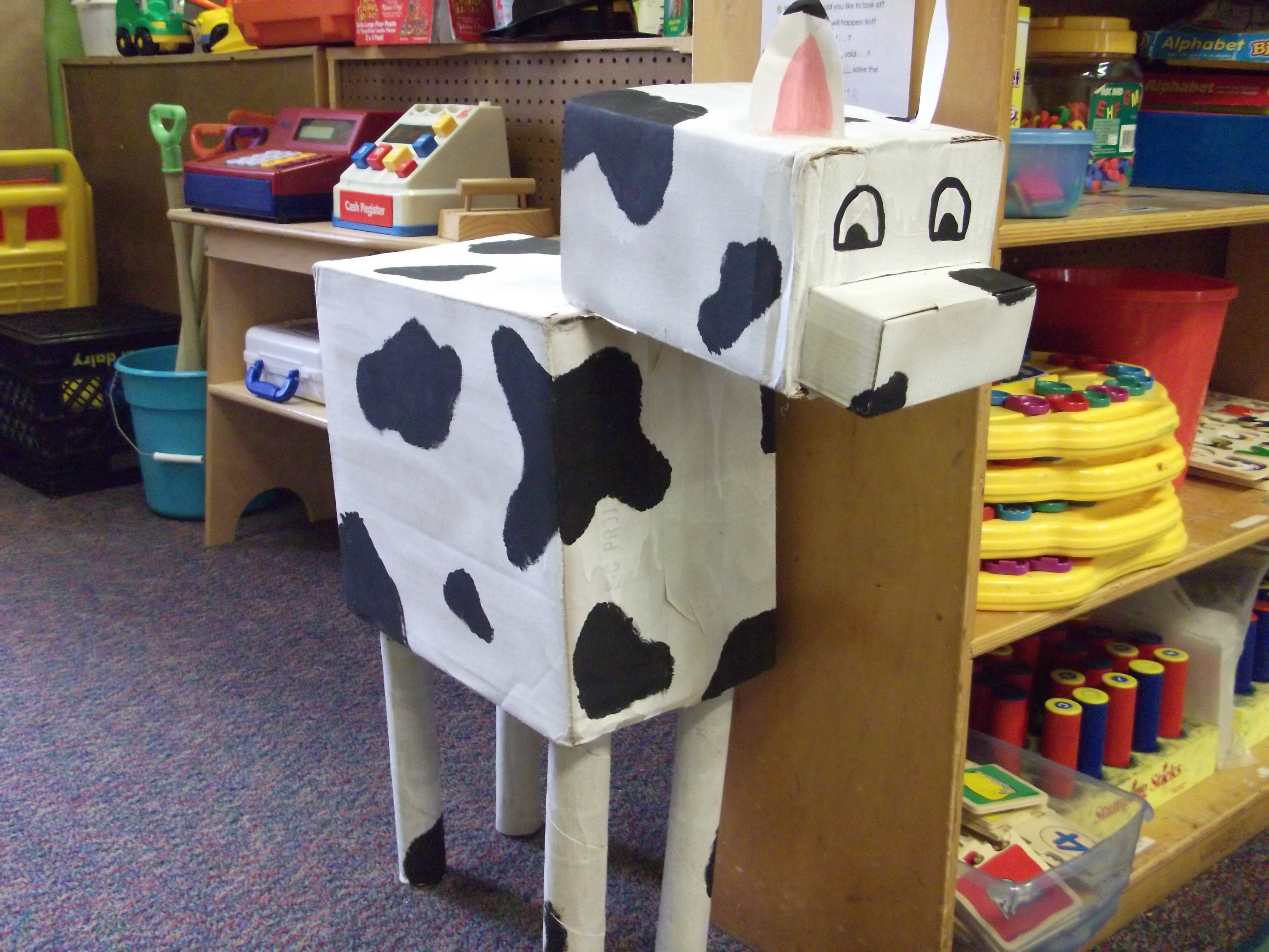 Cardboard Cow I Made For Dramatic Play Farm We Even