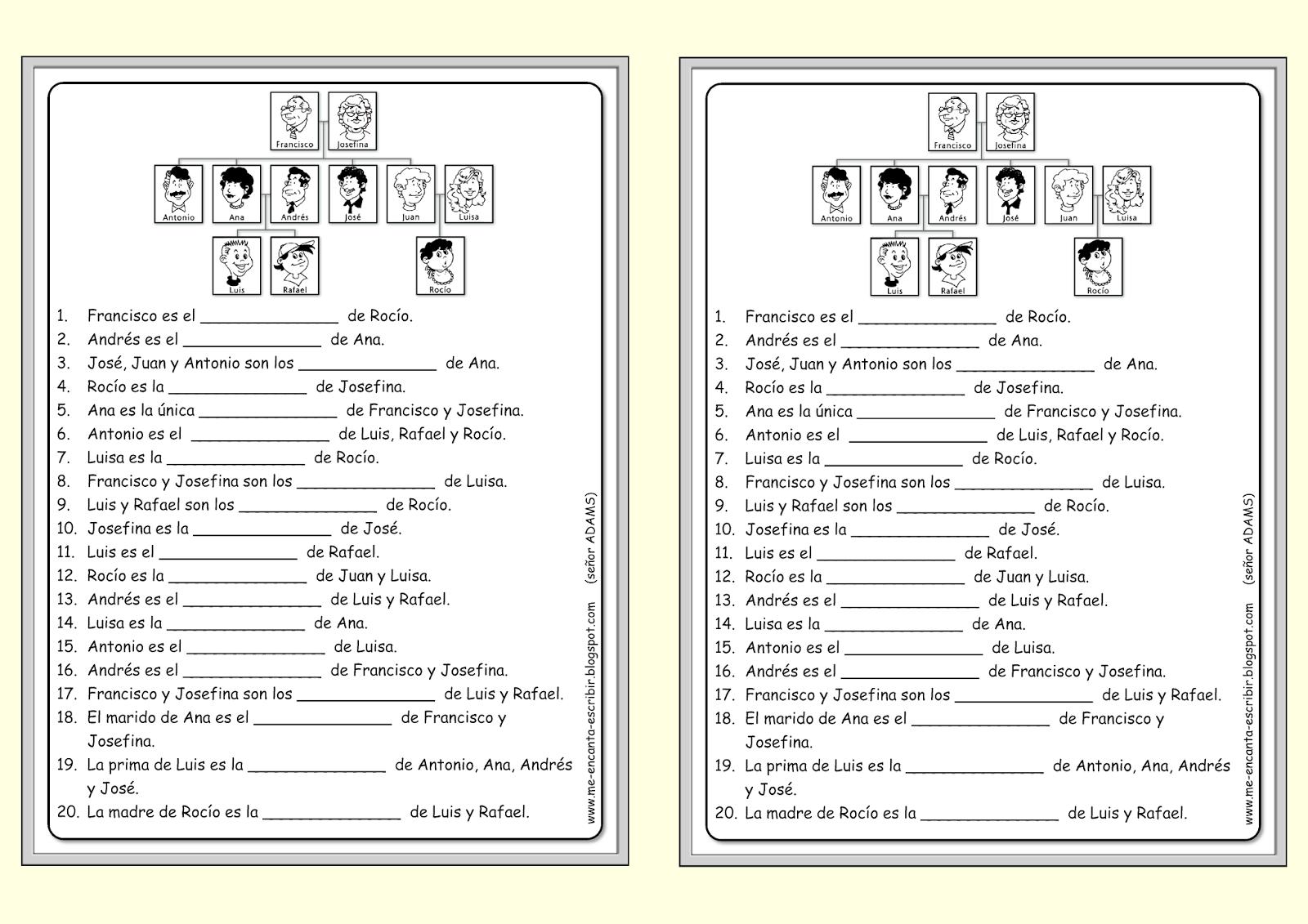 Estos Documentos Te Permiten Trabajar El Vocabulario Y Los Lazos Entre Las Diferentes Personas