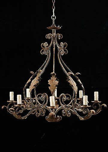 Italian Antique Wrought Iron 8 Light Chandelier