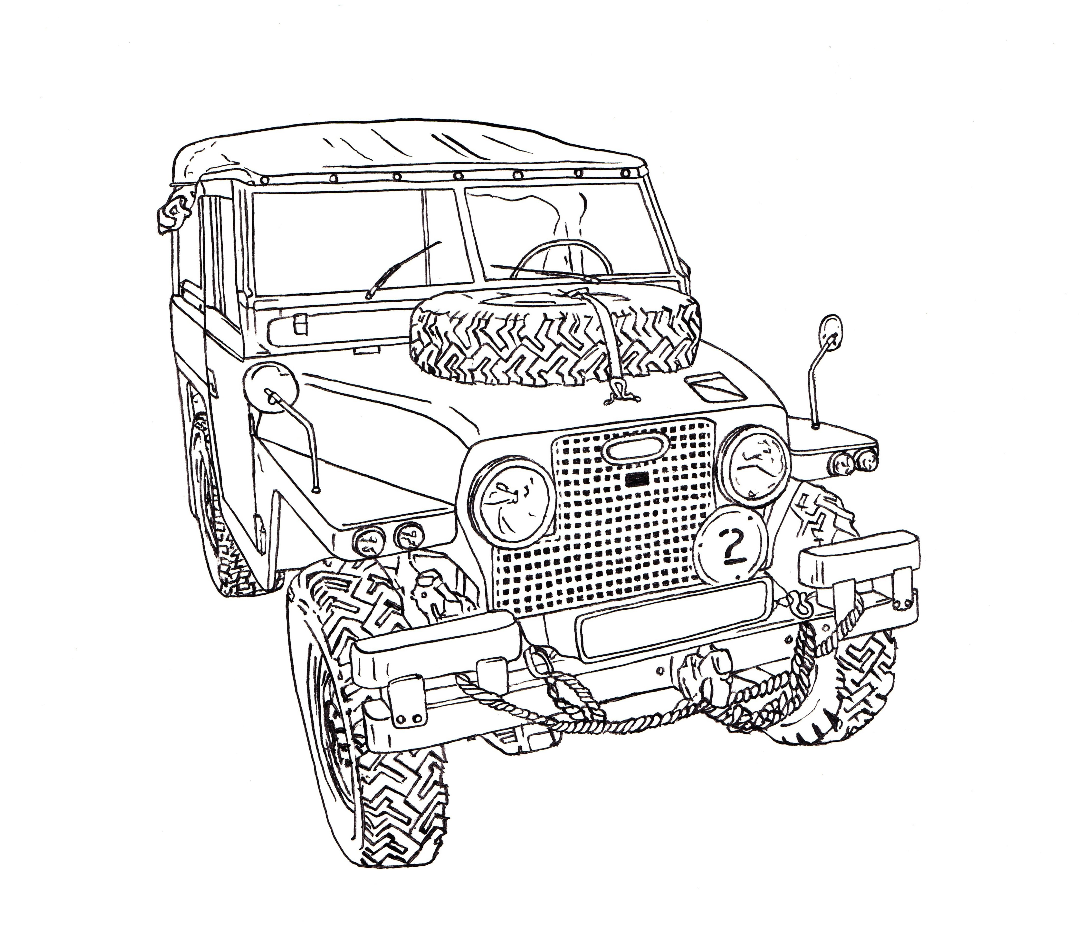 Land Rover Half Ton Lightweight Ink Drawing