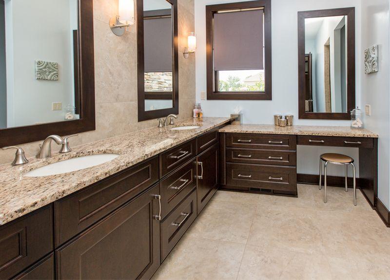 Dark bathroom cabinets, tan countertops | home | Pinterest ... on Bathroom Ideas With Black Granite Countertops  id=88966