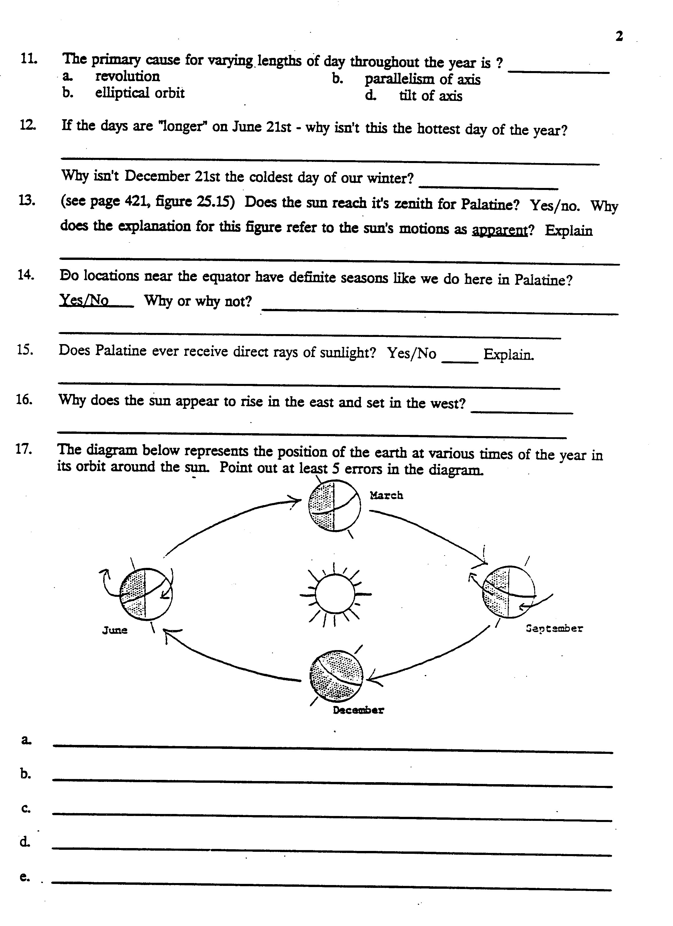 Worksheet Rotation And Revolution Worksheets Worksheet