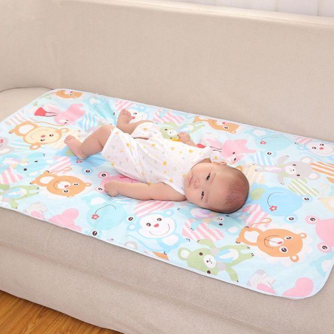 Cartoon Cotton 3 Layers Baby Waterproof Mat Large Cover Infant Urine Pad Mattress Sheet