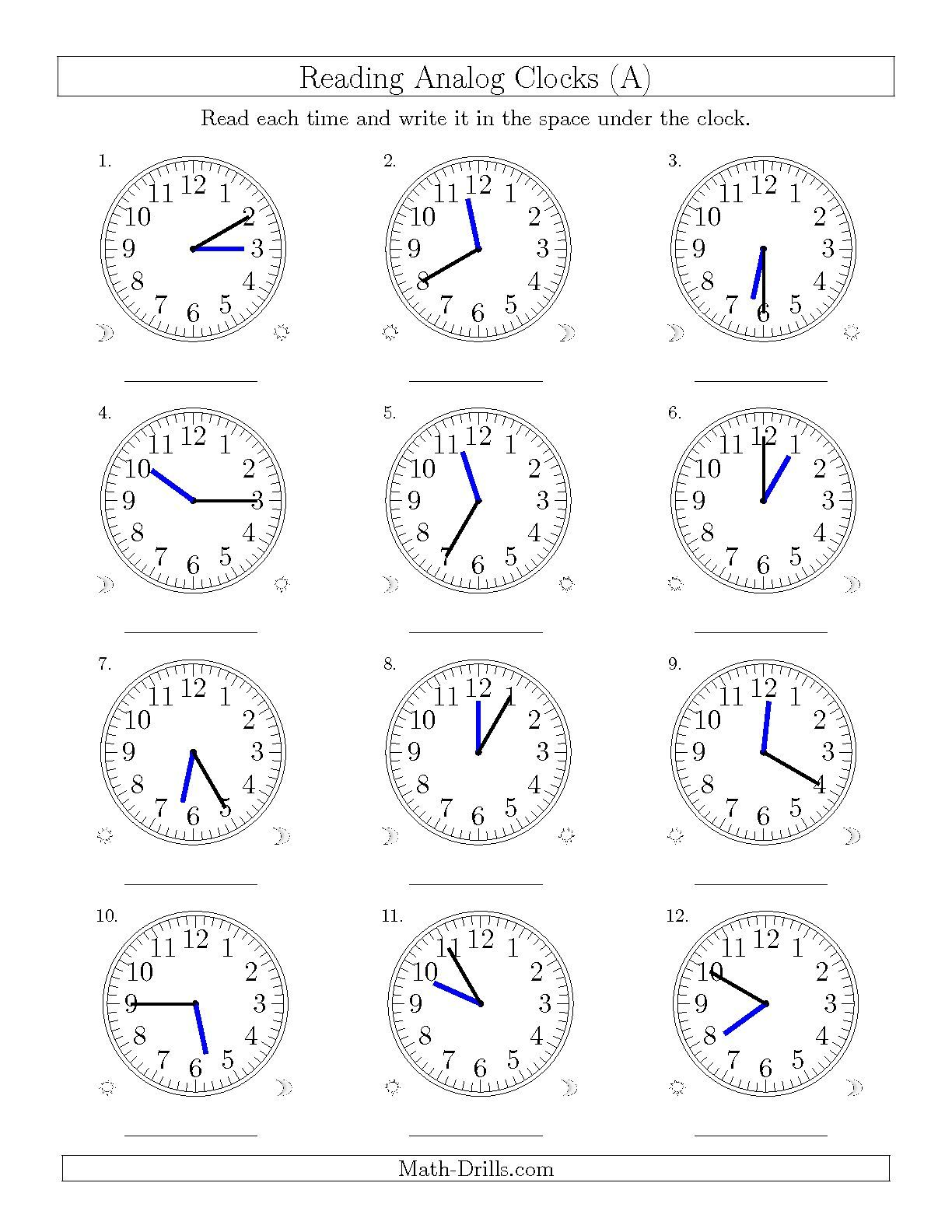 The Reading Time On 12 Hourog Clocks In 5 Minute