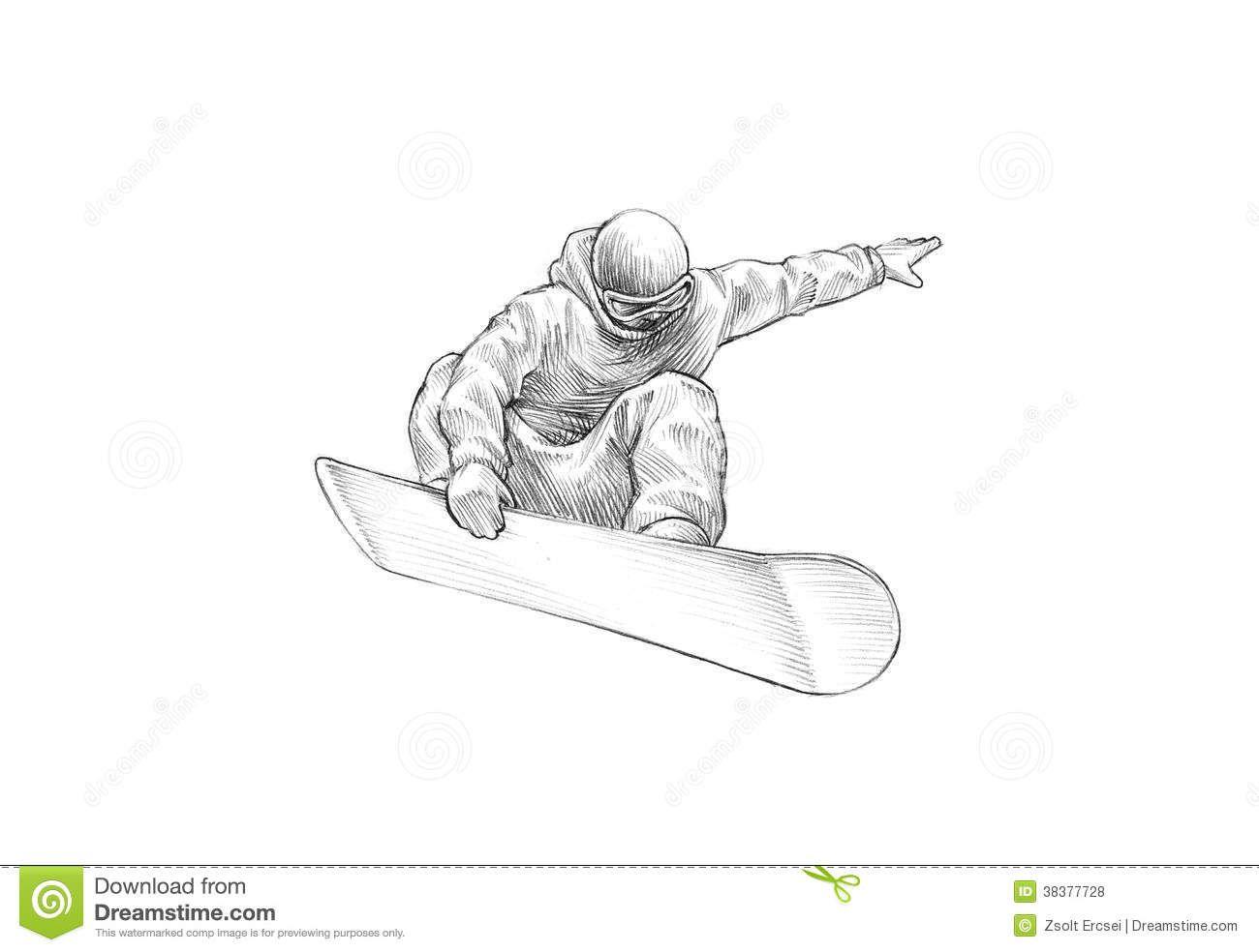Hand Drawn Sketch Pencil Illustration Snowboarder Mid Air