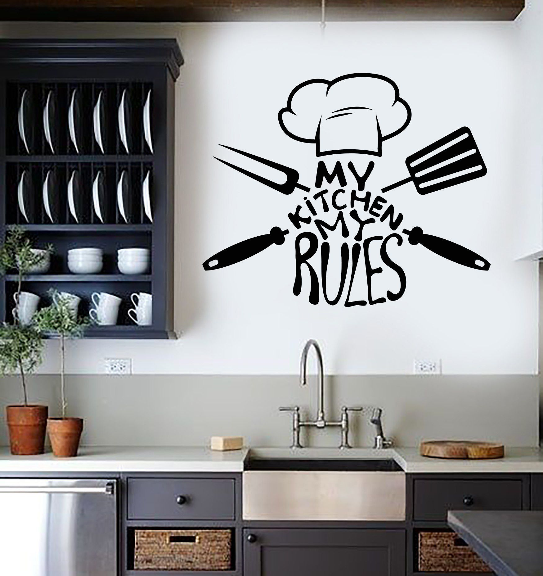 vinyl wall decal kitchen quote chef restaurant stickers mural ig3705 vinyls kitchen quotes on kitchen decor quotes wall decals id=76817