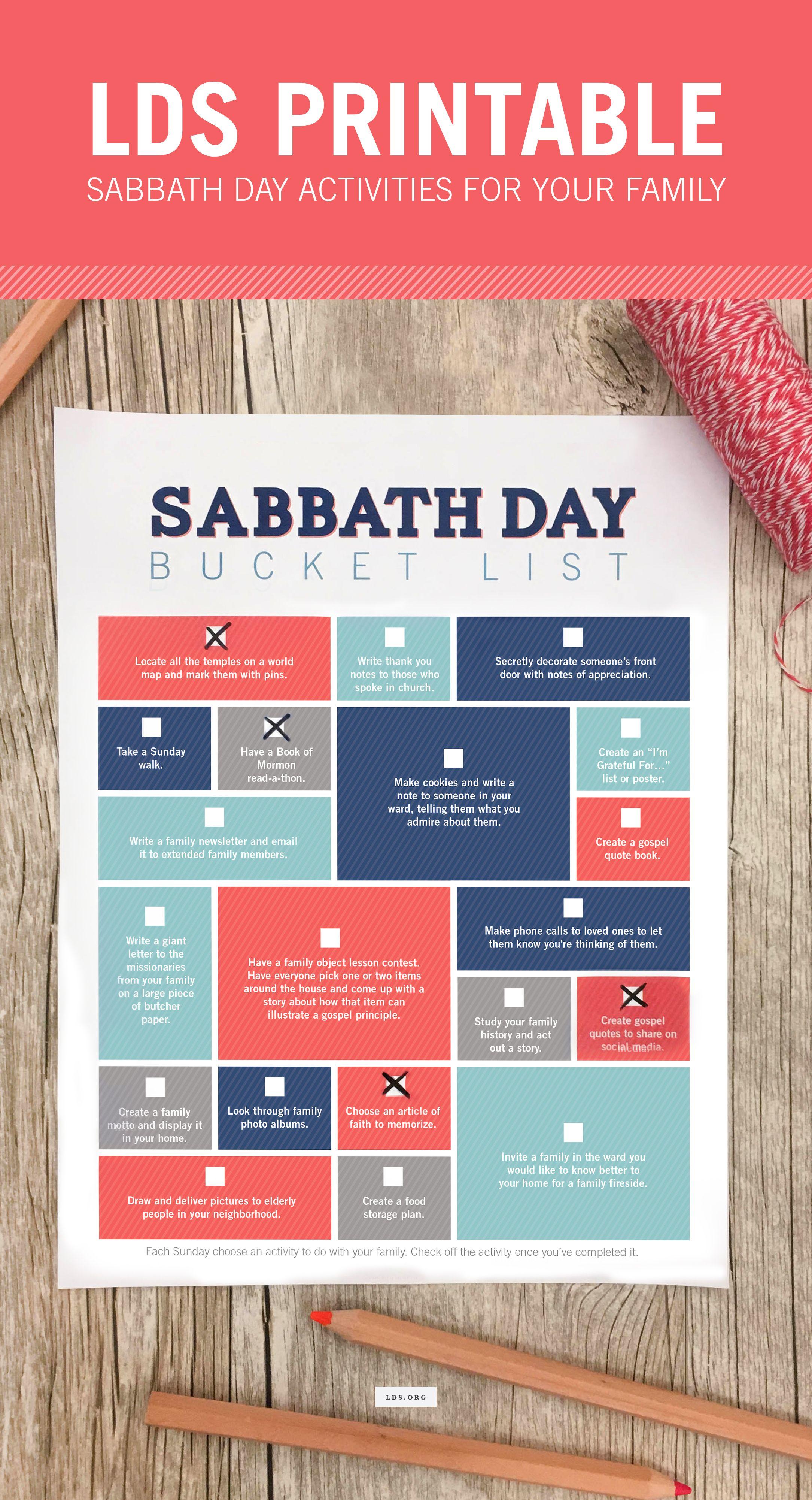 Printable Sabbath Day Bucket List Each Sunday Choose An