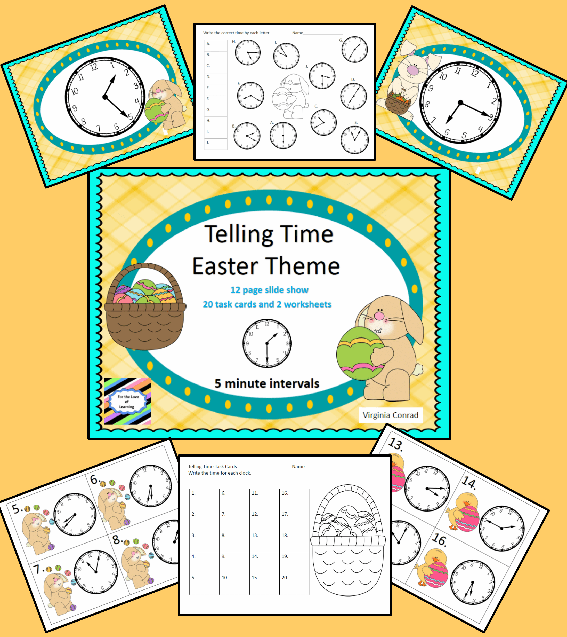 Telling Time To Five Minute Intervals Easter Theme