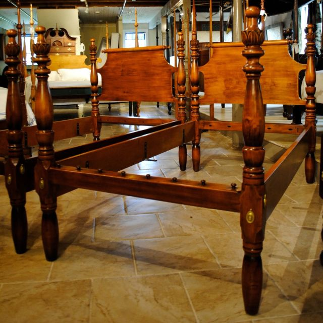 Outstanding Antique Turnip Top King Bed Heavy Tiger Maple posts