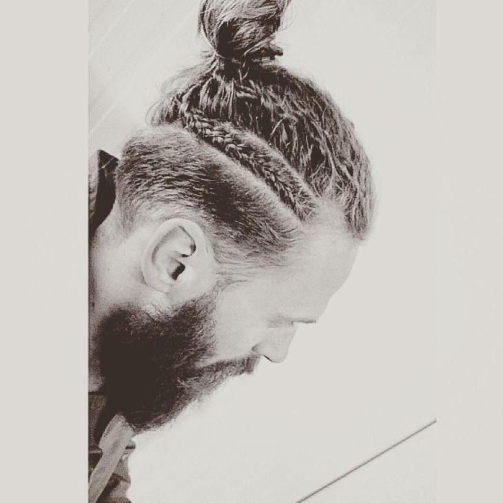 Mohawk With Braid Classy men Man bun and Menus fashion