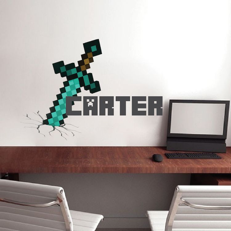 minecraft personalized name decal minecraft design on wall stickers design id=88470