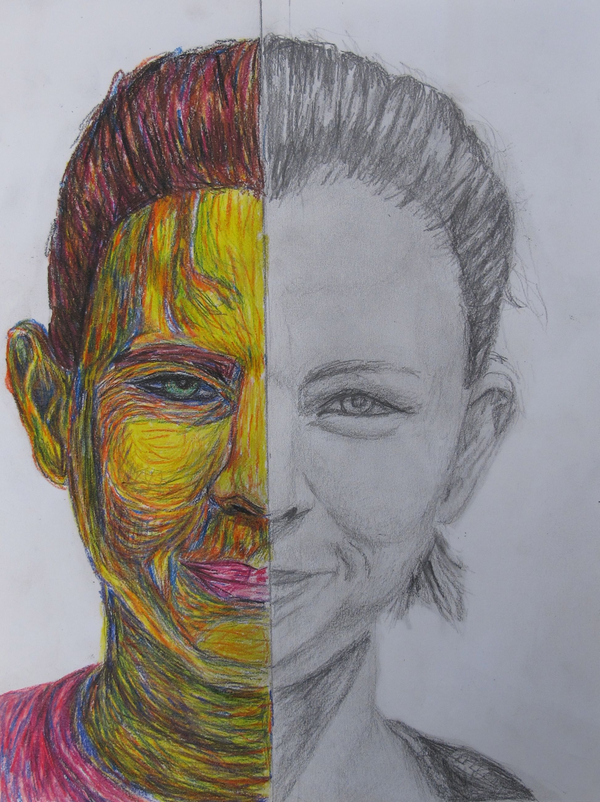 Half And Half Self Portrait Draw One Half Of Your Face In Just Pencil Color The Other Half Of