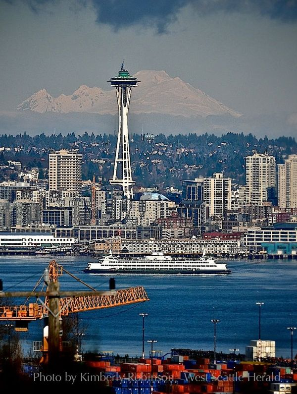 View from West Seattle of the Space Needle and Mt. Baker ...
