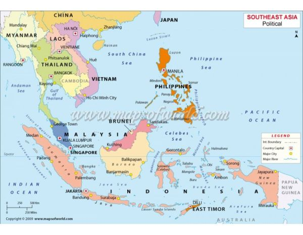 Buy South-East Asia Political Vector Map   Asia, Singapore ...