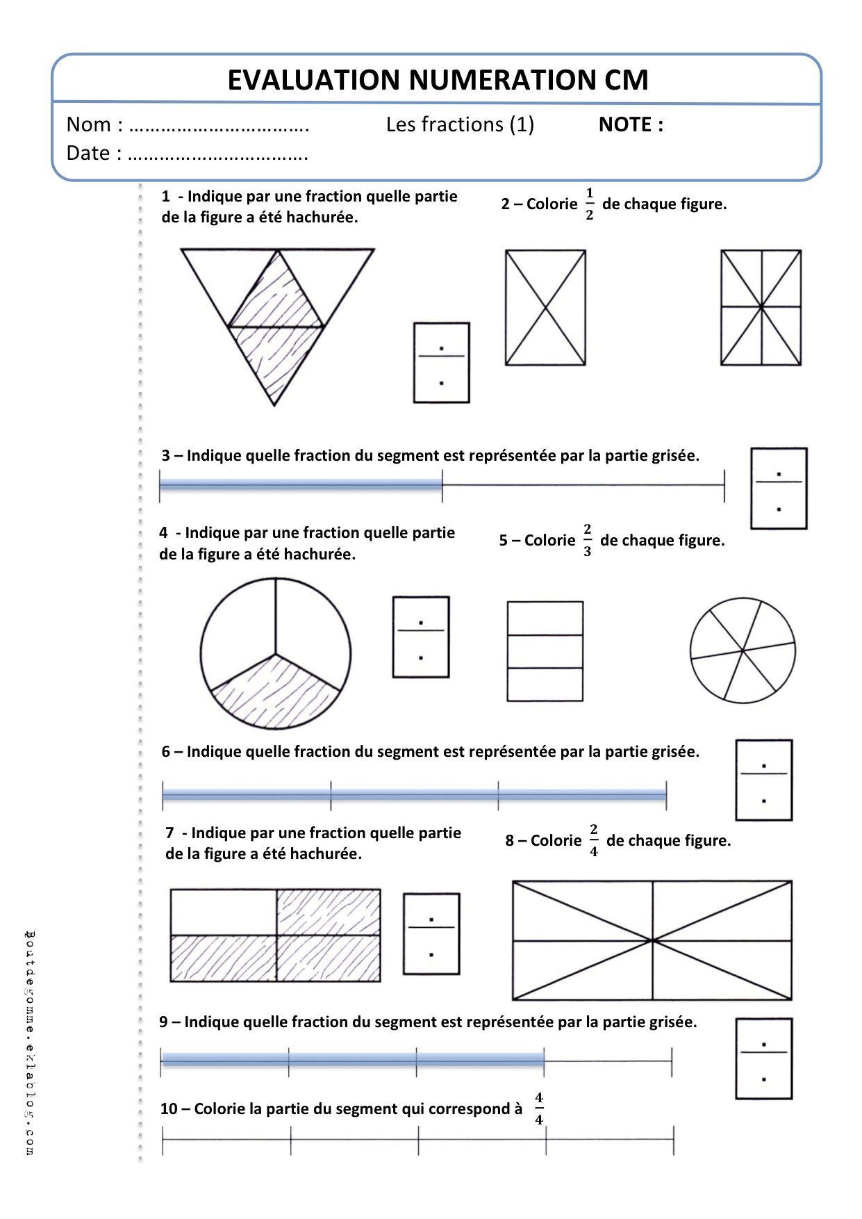 Evaluation Cm2 Numeration Les Fractions 1