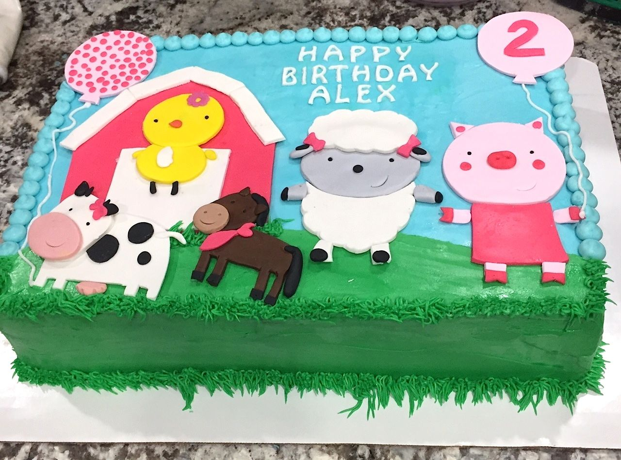 Farm Animal Birthday Sheet Cake Animals Farm