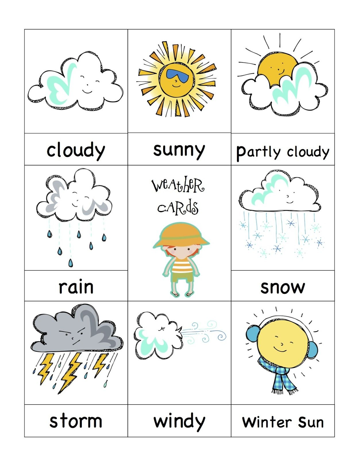 Preschool Printables Weather Cards