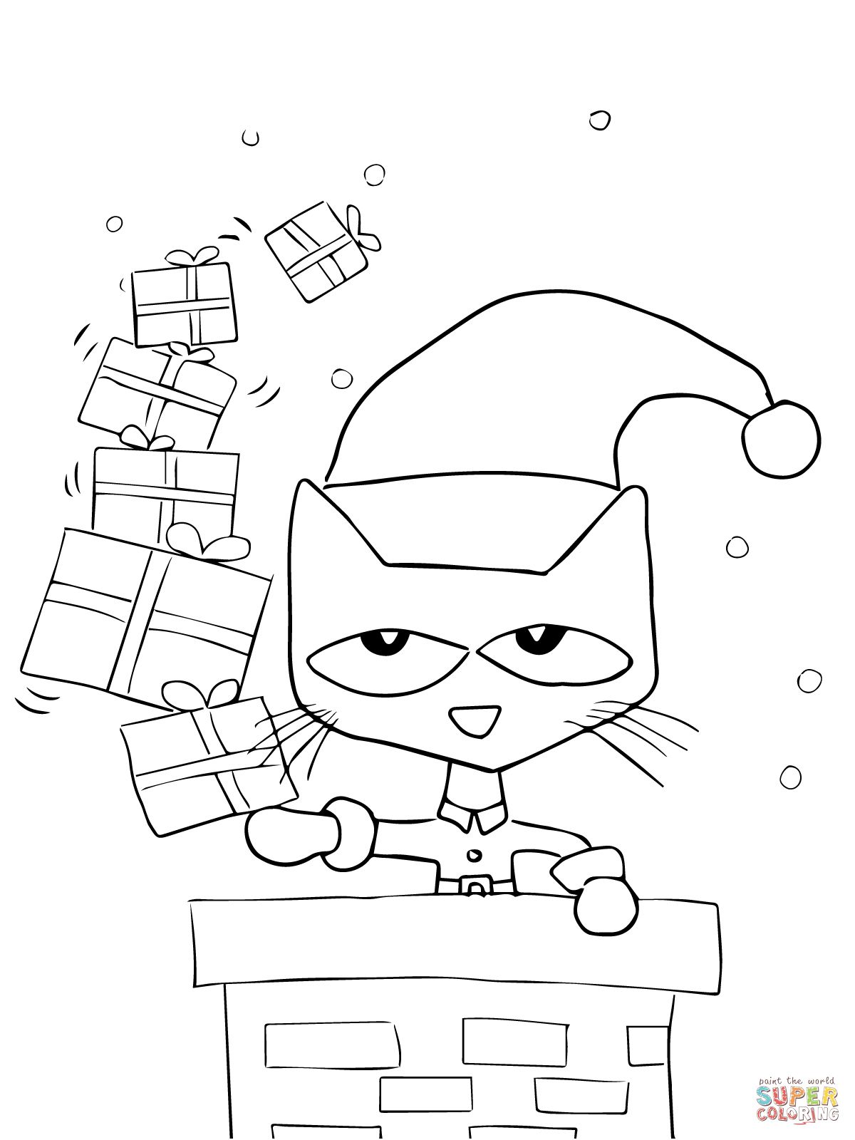 Pete The Cat Saves Christmas Coloring Page