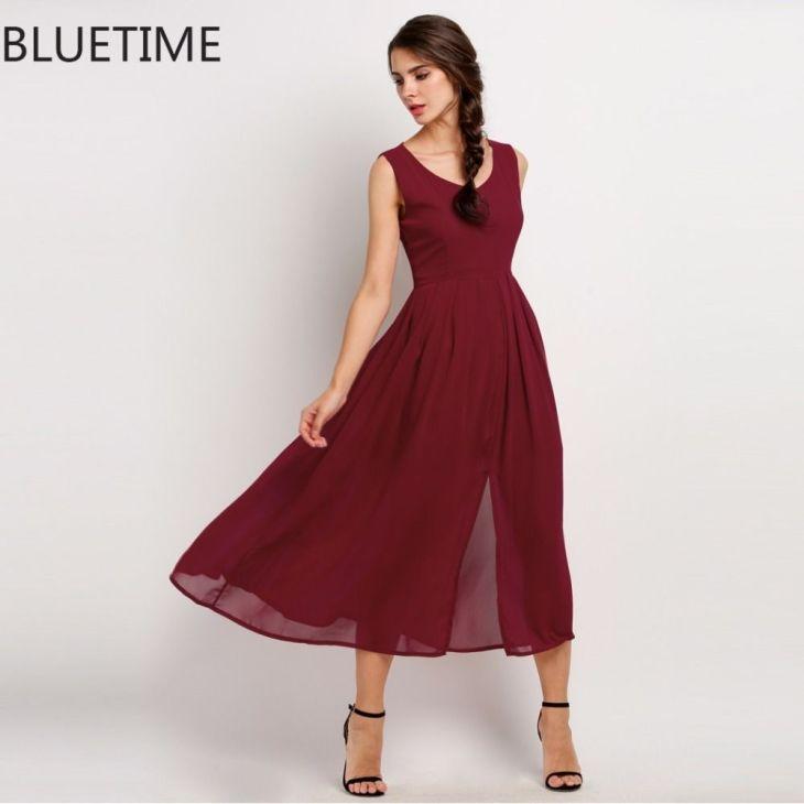 Elegant Party Dress Women Pin Up Sleeveless Summer Maxi Dresses Wine