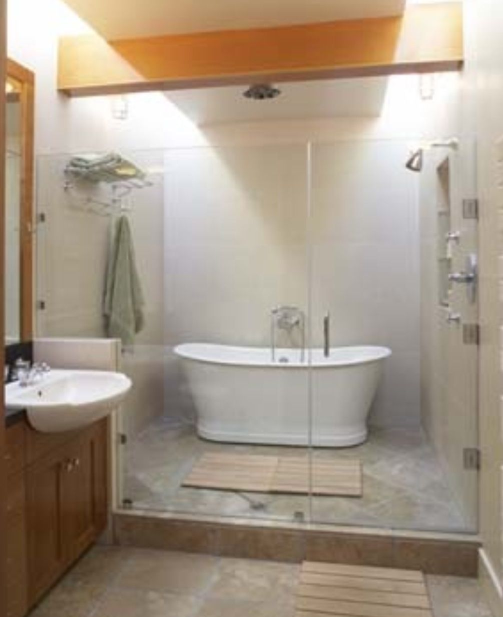 shower/tub wet room | Bathrooms | Pinterest | Wet rooms on Wet Room With Freestanding Tub  id=34219