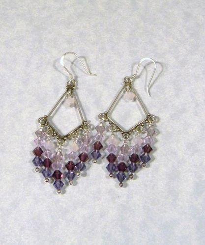 Shades Of Purple Crystal Chandelier Earrings