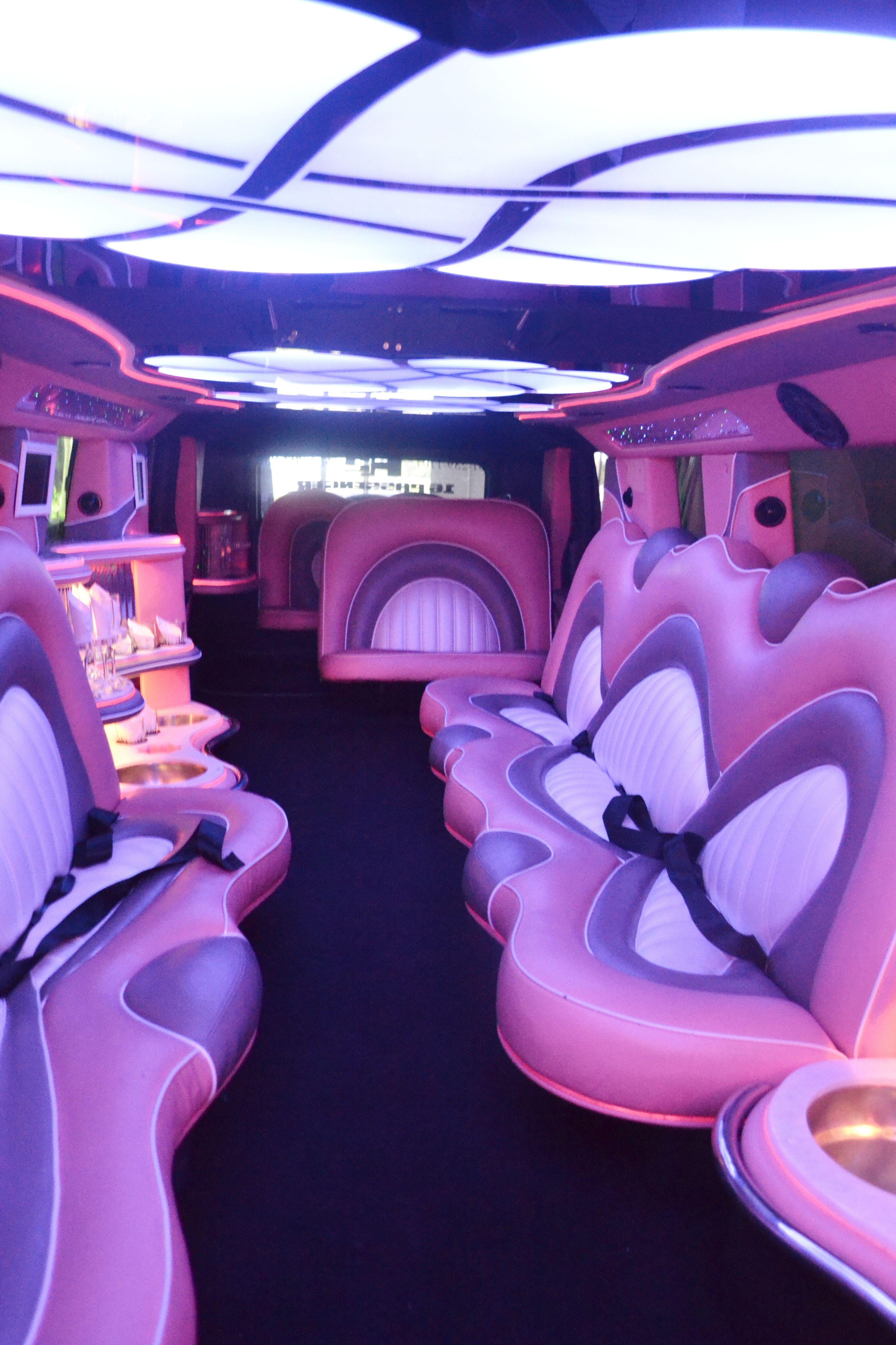 16 Passenger Miami Pink Hummer Limo interior