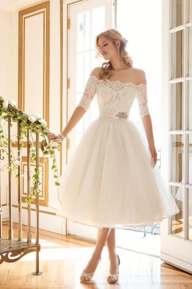 tea length short wedding dress with sleeves Deer Pearl Flowers