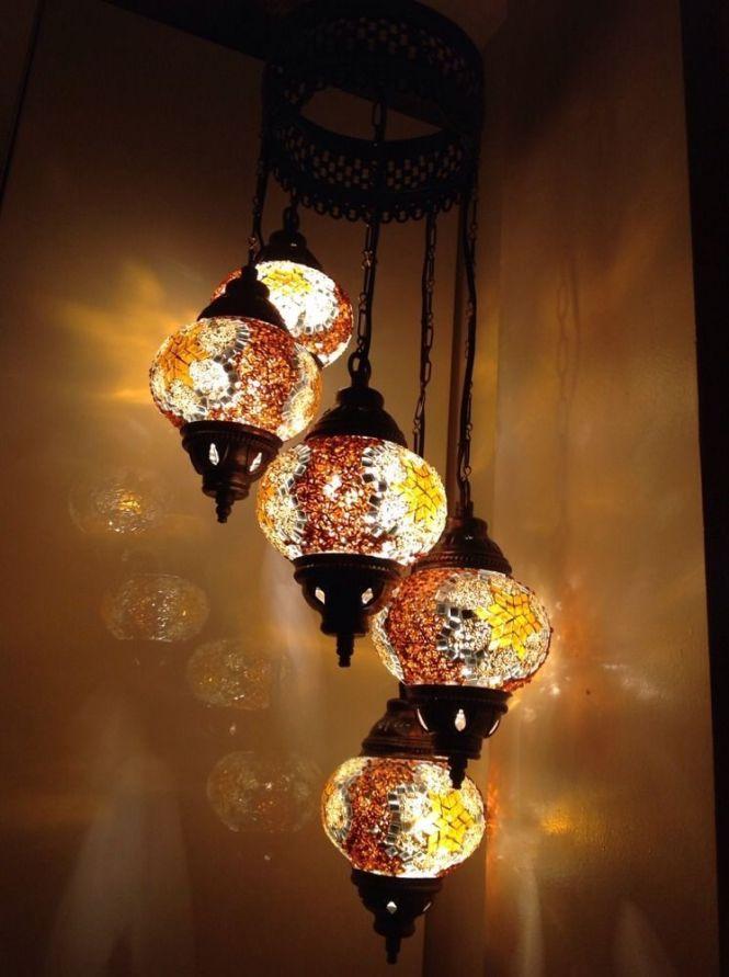 Golden Orange Turkish Moroccan Tiffany Style Glass Mosaic Lamp Chandelier 5 Bulb