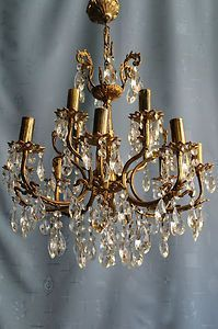 Antique Vintage Brass Crystal Swedish Chandelier Similar To The One I Bought In Barcelona