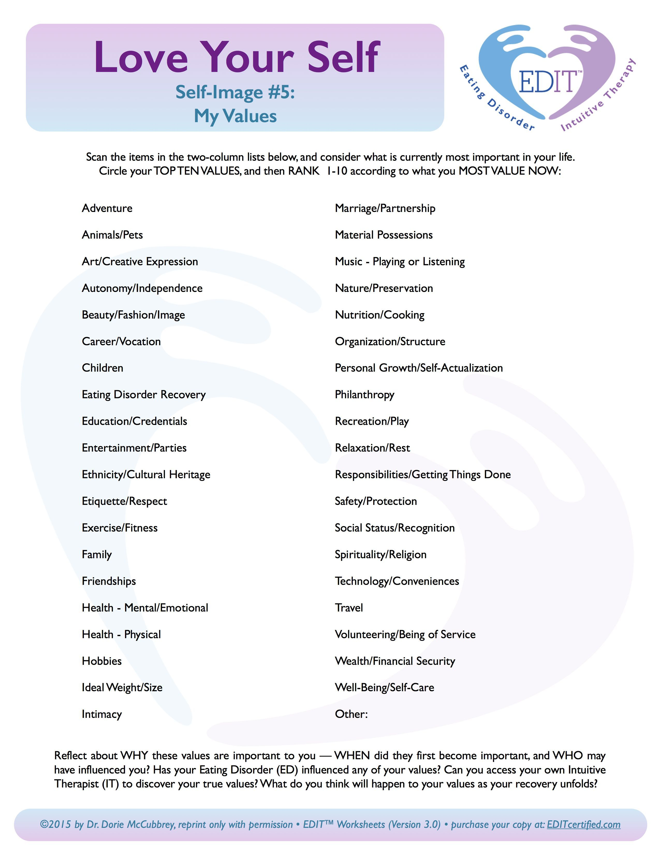 Values Clarification Worksheet
