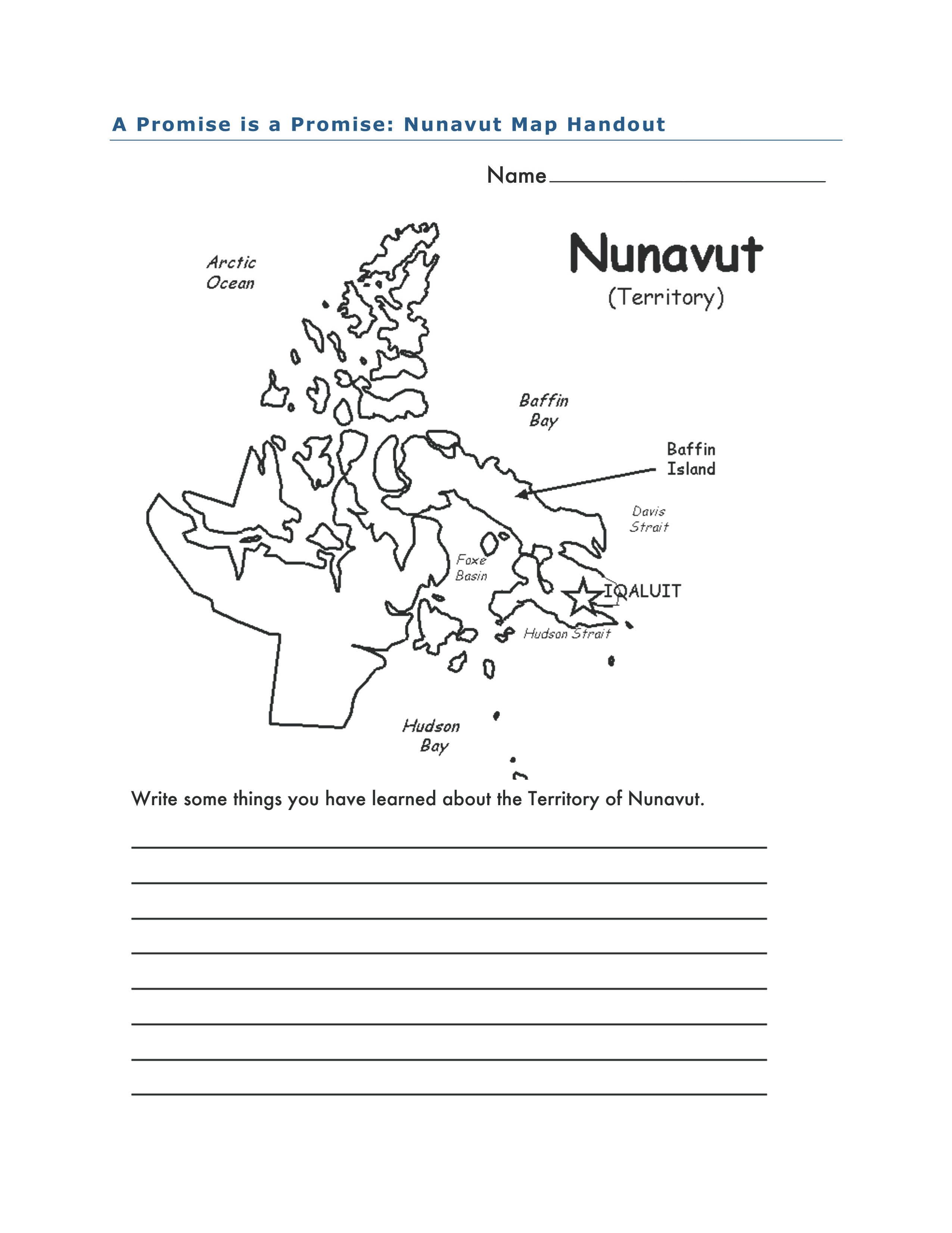 Nunavut Map Activity For A Promise Is A Promise By Robert Munsch And Michael Kusugak Teach