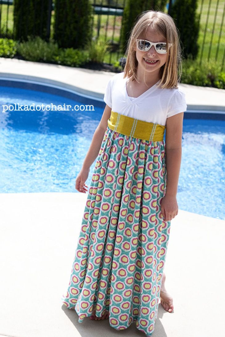 Tutorial Summer Maxi Dress Pattern tshirt refashion Polka dot
